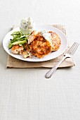 Salmon cakes with tzatziki
