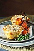 Puff pastry parcels filled with aubergine and cheese