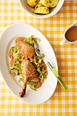 Roast duck with a savoy cabbage medley