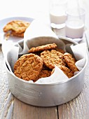 Oat biscuits in a metal tin