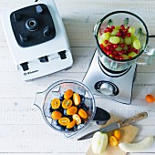 Various fruit for making smoothies in mixers