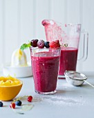 Berry smoothie made with cherries and elderflower syrup