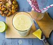 A pineapple and coconut smoothie