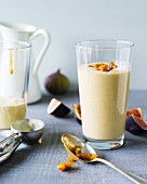 A fig and walnut smoothie made with sweet wine, yoghurt and milk