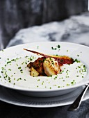 Jerusalem artichoke soup with scallops
