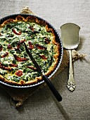 Spinach cake with dried tomatoes