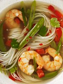 Prawn soup with noodles and vegetables