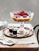 Trifle with peaches and raspberries
