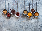 Spices in round spoons on a metal surface