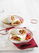 Rice paper wraps filled with tandoori beef