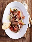 Italian potato salad with Parma ham and figs