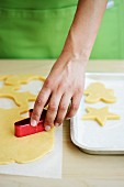 Christmas biscuits being cut out