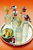 Bottles of lemonade on a tray