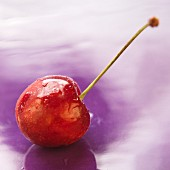 A cherry on a purple surface