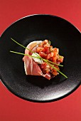Serrano ham with diced tomatoes