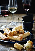 Puff pastry rolls filled with leek and feta