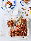 Rhubarb and lemon cake with almonds