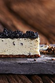 Cheesecake topped with truffles