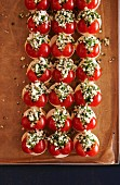 Bread topped with egg, cherry tomatoes and chives
