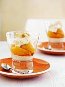 Peach dessert with ricotta cream