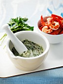 Tartare sauce and prawns