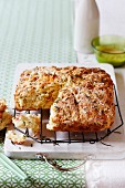 A savoury cake made from scone dough with Swiss cheese, bacon and Rosemary
