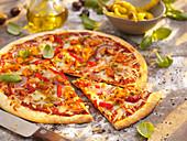 Piri-piri pizza with chicken and basil