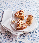 Dundee cake (Scottish fruit cake) with slivered almonds