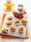 Mini muffins with blueberries and chocolate chips