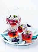 Vodka and blueberry cocktails with mint