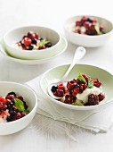 Mint sorbet with chilled berries