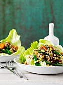 Chow Mein (noodle dish, China) served with lettuce
