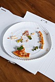 Leftover food on a paper plate