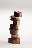 A stack of chocolate pralines