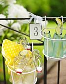 Limonadenflaschen im Drahtgestell auf dem Gartenzaun