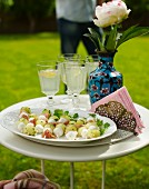 Melon and mozzarella skewers for a croquet garden party