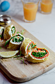 Omelette rolls with smoked salmon