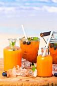Papaya, Melone undHeidelbeer-Drink