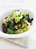 A mussel and vegetable salad