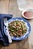 Cereal salad with nuts, vegetables and a soya and ginger dressing