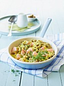 Green tagliatelle with salmon and dill