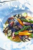 Goose barnacles with asparagus and carrots