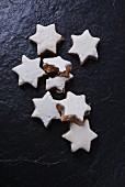 Cinnamon stars on a slate platter