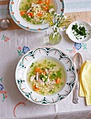 Chicken soup with star shaped pasta