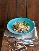 Bread dumplings with a mushroom ragout