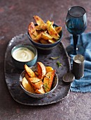 Potato wedges with rosemary, chilli and aioli