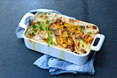 A winter vegetable gratin with pumpkin, Jerusalem artichokes and potatoes