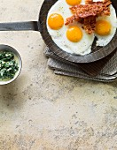 Fried eggs with bacon and creamy spinach