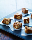 Caramel sweets with hazelnuts
