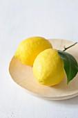 Zwei Zitronen auf einem Holzteller